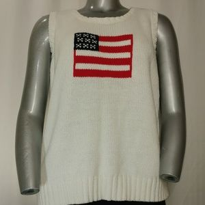 Villager Sport Sleeveless Knit USA Flag Crew Top 2